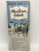 1960 OFFICIAL GUIDE OF MACKINAC ISLAND Quad Fold Travel Tour Guide Brochure Map