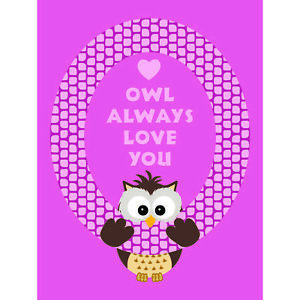 Quote Type Text Graphic Cartoon Owl Love Pink Unframed Wall Art Poster