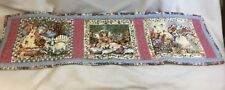 """Quilted Table or Bed Runner """"Happy Angels"""" 13"""" x 44"""" Reversible - Flowers Bunny"""