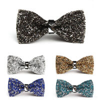 Men's Wear Bow Tie Crystal Glitter Silver Wedding Smart Ball Party Fashion Prom