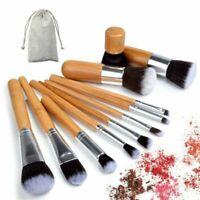 11pcs Bamboo Handle Makeup Brush Set Cosmetic Foundation Powder Blending Brushes