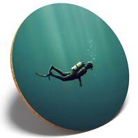 1 x Underwater Scuba Diver - Round Coaster Kitchen Student Kids Gift #8123