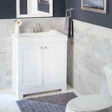 "30.5"" Slim Modern Bathroom Vanity White with Marble Top Single Rectangular Basin"