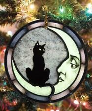 Black Cat Moon Child Christmas Circle Ornament