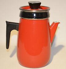 Vintage Red Enamelware Coffee Pot 3pc. Plant Pot Decoration
