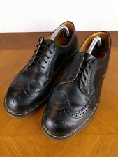 VTG Dr Martens Black Wing Tip Shoes Men's 9 Yellow Stitch Oxford England Hipster