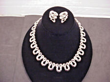 Trifari Vintage Chrome Necklace Matching Earrings Silver Swirl Modernist
