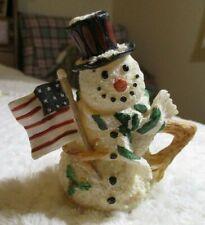 "K`S Collection Snowman Figurine 4 1/2"" tall w/ Us 9 Stars 5 Stripes Flag"