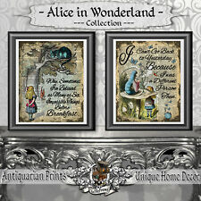 Alice in Wonderland Set of 2 prints on Real Antique Dictionary Book Pages