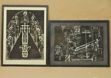 Vtg University Of Michigan Hospital Scratchboard Artwork Signed Herbert Johe