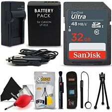 SanDisk 32GB Ultra SD Memory Card + LP-E12 / LP-E12 Battery + Xtech Starter Kit
