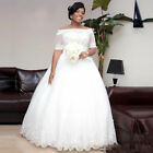 Beaded Half Sleeve Wedding Dress Bridal Gown Custom Plus Size 18-20-22-24-26-28+