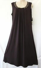 Jones New York Collection Dress S Sorento Brown Sleeveless Womens Jewel Stretchy