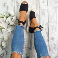 femmes sandales lanière plate Espadrilles VACANCES ÉTÉ TONGS POINTURE chaussures