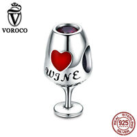 VOROCO 925 Sterling Silver Wine Glass Charms with High polish fit Charm Bracelet