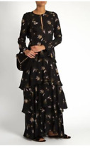 New Women's A.L.C Christianne Gorgeous Silk Flowy Floral Maxi Long Dress 2 Black