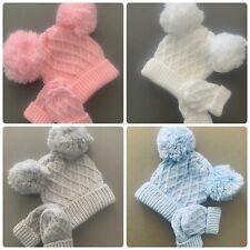Baby 2er Set Mütze + Handschuhe Strickmütze Fäustlinge Winter Gr. 0-6 Monate