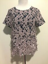 95f6af00adeb59 Zac Posen Women s Floral Applique Crew Neck Top Purple Short Sleeve Size 8