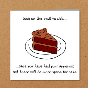 Funny Appendix Surgery Card - Appendectomy Get Well Soon Card, Operation Recover