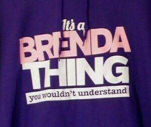 """Gildan Women's Size XL Purple Color Hooded Sweatshirt BNWOT """"It's a Brenda thing"""