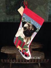 Fawn Pug Dog Needlepoint Christmas Stocking NWT