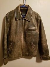 American Eagle Outfitters Distressed Leather Bomber Motorcycle Jacket Mens M