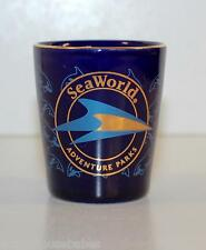 BLue Shot Glass, Gold Rim, SEA WORLD. ADVENTURE PARK, Shamu the killer whale.
