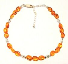 "AMBER ANKLET GENUINE BALTIC STERLING SILVER, ADJUSTS 22 TO 27CM ""NEW"" AUZ MADE"