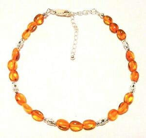 """AMBER ANKLET GENUINE BALTIC STERLING SILVER, ADJUSTS 22 TO 27CM """"NEW"""" AUZ MADE"""