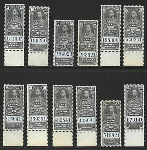 Canada, 1930 Weights and Measures Revenue Stamps, Van Dam #FWM60-#FWM71, N.H.
