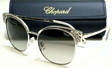 New Authentic CHOPARD SCH C24S 589 Silver W/Crystals/Grey Lenses 57mm Sunglasses