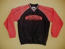 WISCONSIN BADGERS Black/Red Football COLLEGE JACKET Windbreaker Coat Men's LARGE