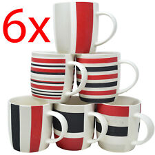 SET OF 6 MUGS COFFEE TEA DRINKING MUG CUP KITCHEN GIFT CERAMIC HOT CHOCOLATE NEW