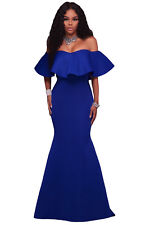 New Classy Royal Blue Ruffle Off Shoulder Maxi Party Dress Size 12 14 UK