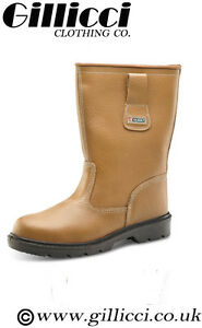 SAFETY STRONG WORK WORKWEAR STEEL TOE CAP LEATHER TAN BROWN  RIGGER BOOT SHOES