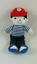 "Baby Gear Baseball Hat Boy Doll Plush Stripe Shirt Pants Sneakers Lovey Toy 12"""