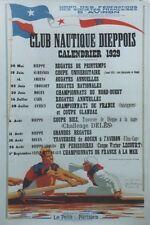"""""""CLUB NAUTIQUE DIEPPOIS 1929"""" Affiche originale entoilée José BRIDGE 84x124cm"""