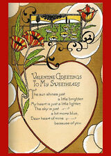 Vintage Postcard Floral Valentine Sweet Cards Cupid Heart Reproduction 14x18 New