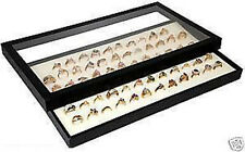Ring Tray Acrylic Lid Jewelry Display Case White Insert