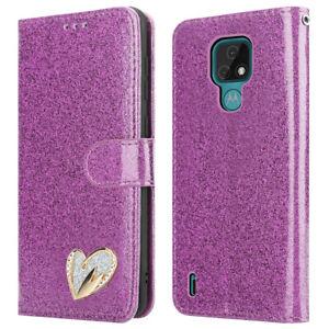For Motorola Moto E7 Case Shiny Leather Glitter Flip Wallet Cover for E7 Phone