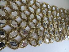 Espejo de Cristal 1ft oro recorte de Encaje Cinta Ribete de trabajo de corte frontera Sari Craft