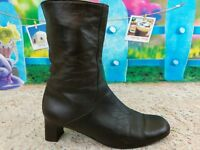 Cole Haan Womens Size 7 B Brown Leather Mid Calf Zip Ankle Boots Made In Italy