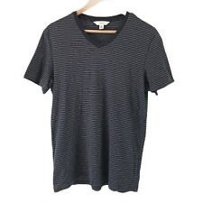 Calvin Klein Mens T-Shirt Size M Body Fit Black Striped V-Neck Short Sleeve -EUC