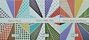 16 x A5 Paper Dienamics 160gsm Card Festive Plaid/Polka Dots/Spots & stripes NEW