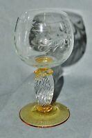 Weinglas Römer Bleikristall,klar gelb gedrehter Stiel,floraler Dekor,Glasschnitt