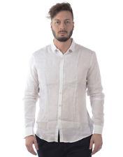 Camicia Daniele Alessandrini Shirt Lino Uomo Bianco C1657R3393702 2