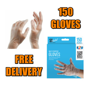 150 Disposable Multi Purpose Gloves Pack Safety Hairdressing Transparent Plastic