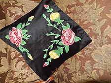 Handmade Cushion Pillow Cover Case Flowers on Black Velvet Multi Color