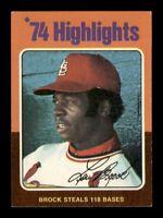 1975 Topps Set Break # 2 Lou Brock Highlights NM *OBGcards*