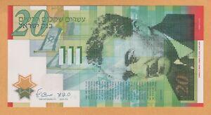 Israel 20 Sheqalim Polymer Banknotes UNC 2008 P-64